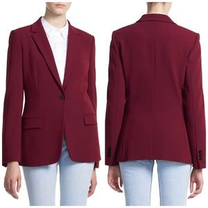 NEW Theory Buttoned Notch Basic Blazer in Currant
